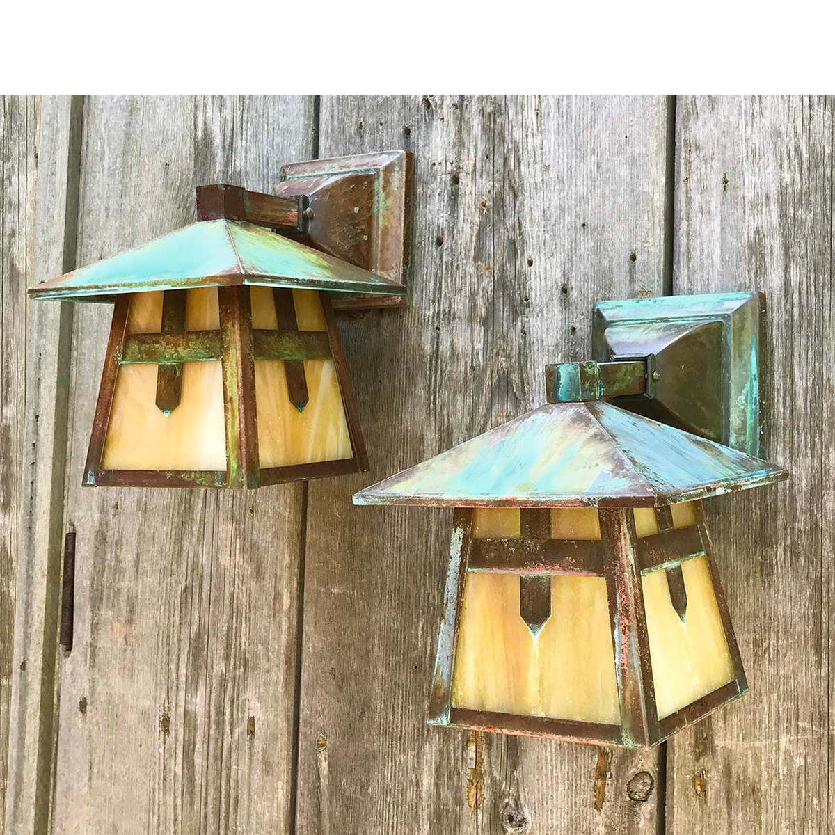 L17127 - Pair of Contemporary Arts & Crafts Copper Lantern Sconces