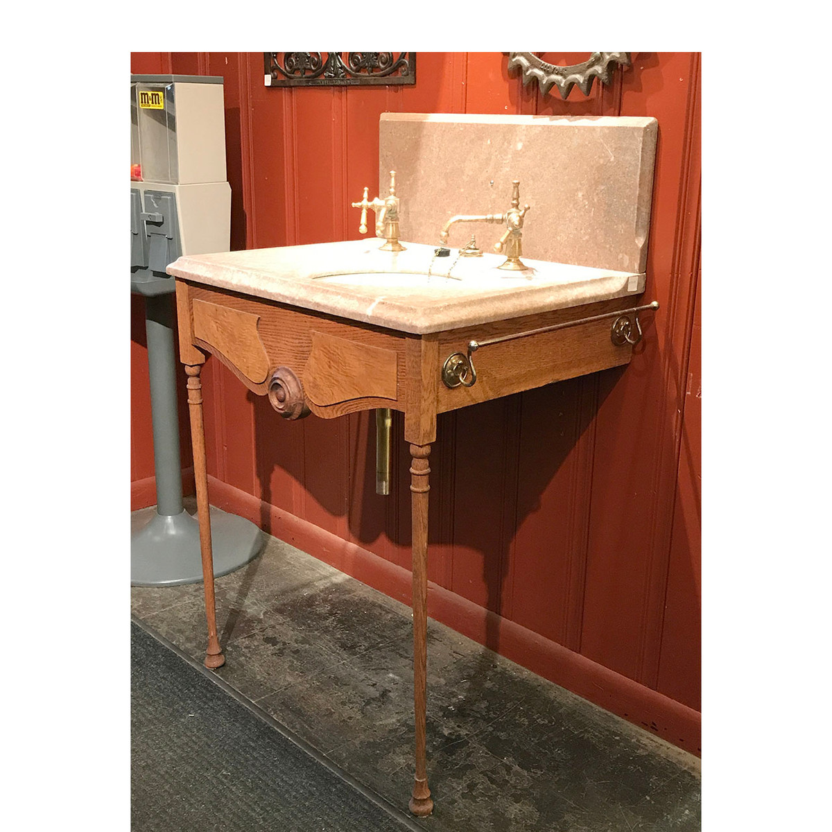P17015 - Antique Marble and Ceramic Sink on Oak Stand