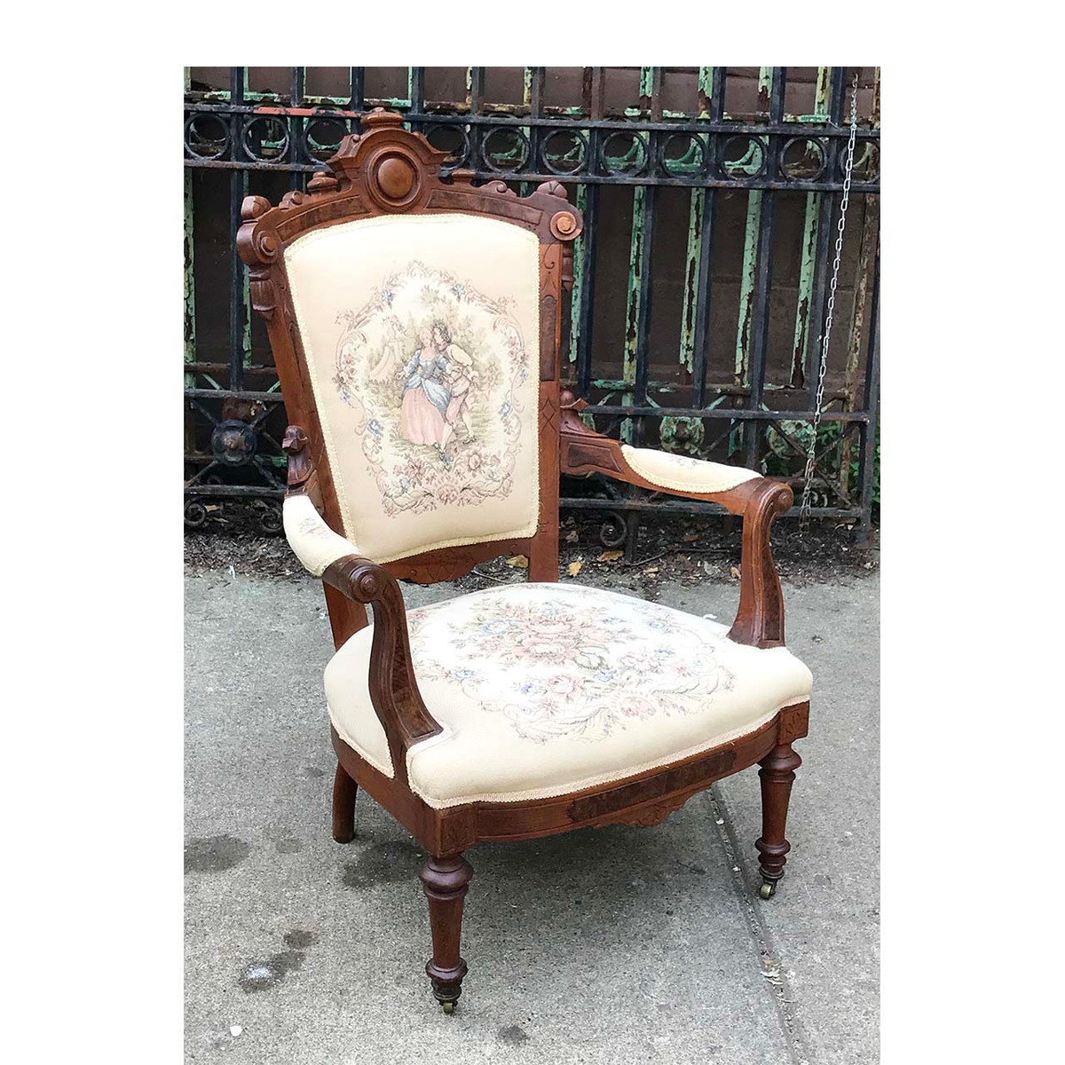 F17081 - Antique Renaissance Revival Needlepoint and Walnut Arm Chair