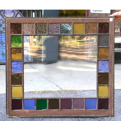 G17068 - Antique Queen Anne Style Stained & Clear Glass Window