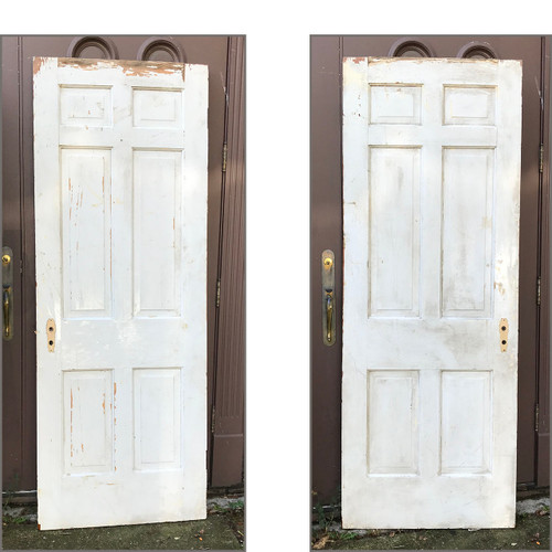 "D17128 - Single Antique Pine Six Panel Door 30"" x 80"""