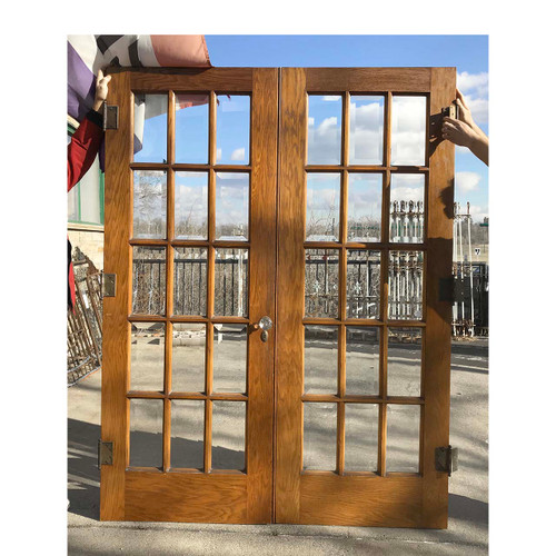 "D17185 - Pair of Antique Oak Beveled Glass French Interior Doors 60-1/2"" x 79-1/2"""