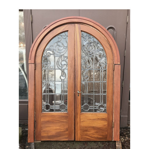 "D17195 - Pair of Antique Beveled & Leaded Glass Arched-Topped Doors With Jamb 56"" x 84"""