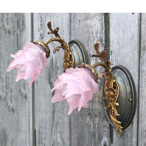 L17288 - Pair of Antique Wall Sconces with Vintage Shades