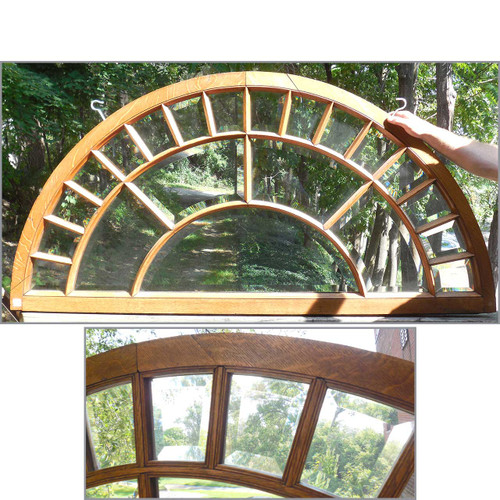 G14071- Antique Colonial Revival Arched Beveled Transom Window