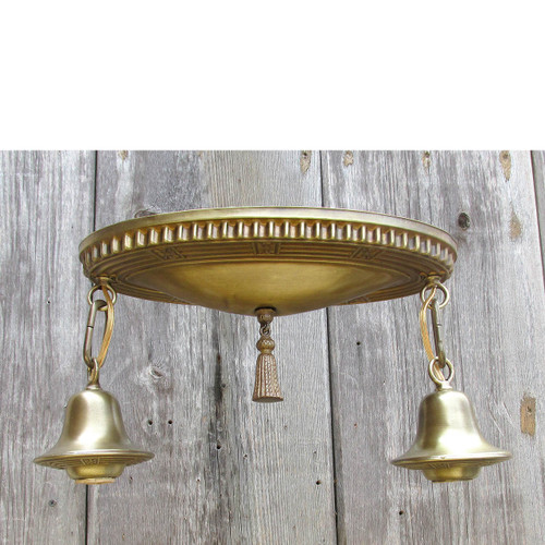 L16041 - Antique Colonial Revival Two Light Bare Bulb Flush Mount Pan Fixture