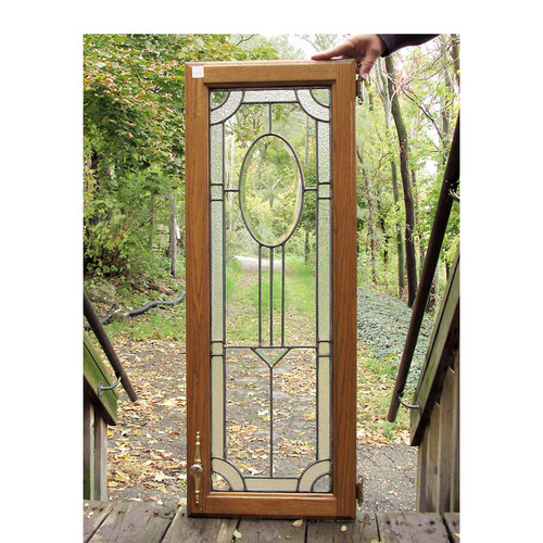 G16036 - Antique Colonial Revival Beveled Glass Cabinet Door