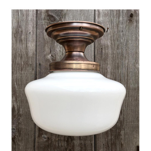 L16167 - Antique Brass School House Fixture With Milk Glass Shade