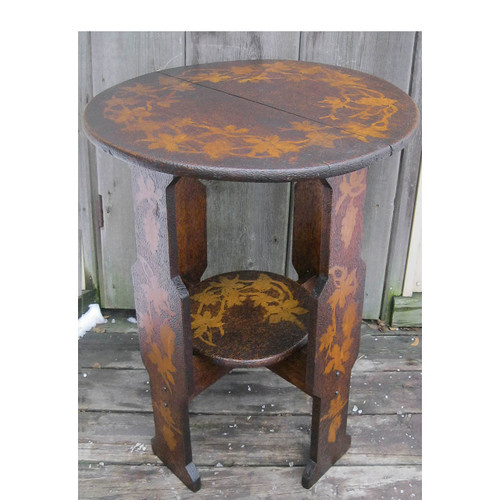 F16180 - Antique Arts and Crafts Hand Carved Side Table