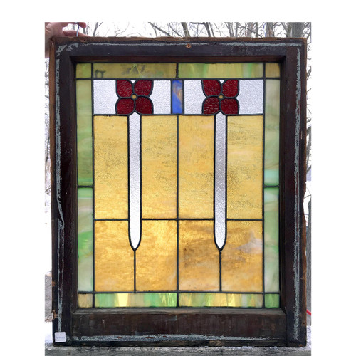 G16075 - Antique Arts & Crafts Stained Glass Window