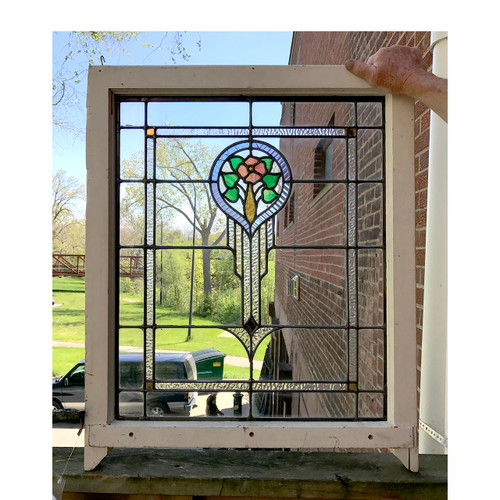 G17046 - Antique Revival Period Stained Glass Window