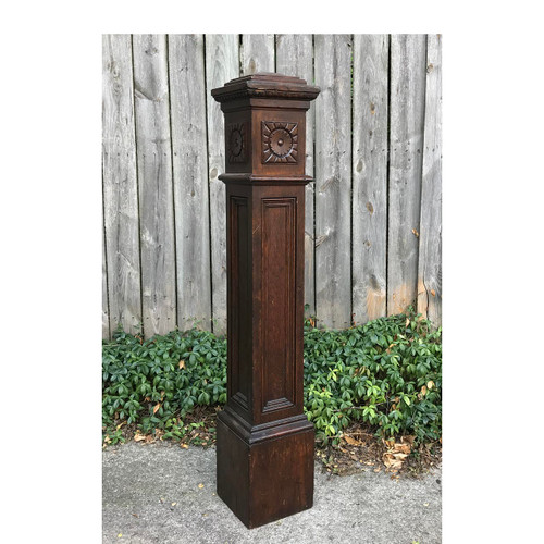 S17046 - Antique Late Victorian Oak Newel Post