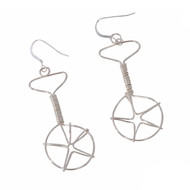 Wired Unicycle Earrings - Silver