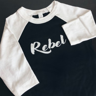 Toddler REBEL Raglan 3/4 Sleeve Tee