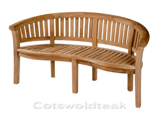 Teak curved Banana Bench Crummock