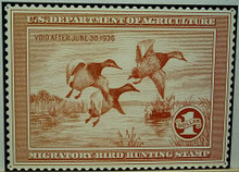 Photo of  FEDERAL DUCK HUNTING STAMP 1936 SIGN REDISH BROWN AND WHITE