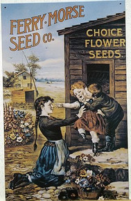 Photo of FERRY-MORSE SEEDS WITH SHARP COLORS AND DETAIL OF CHILDREN AROUND FLOWERS