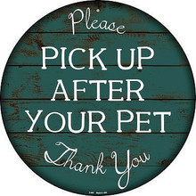 "12"" ROUND DOG POOP SIGN MADE OF ALUMINUM WITH HOLE(S) FOR EASY MOUNTING  THIS IS A S/O ""SPECIAL ORDER SIGN"" THAT TAKES 2-3 WEEKS TO SHIP."