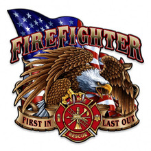 """FIREFIGHTER EAGLE & FLAG SHAPED  (Sublimation Process) Heavy Metal Plasma Cut Sign S/O  SPECIAL ORDER SIGN TAKES 2-3 WEEKS TO SHIP.  THIS SIGN MEASURES 14"""" X 14""""  AND HAS HOLES FOR EASY MOUNTING"""