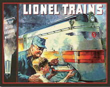 IONEL 1935 BOX TOP TIN SIGN WITH HOLES FOR EASY MOUNTING