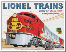 LIONEL SANTA FE TIN SIGN WITH HOLES FOR EASY MOUNTING
