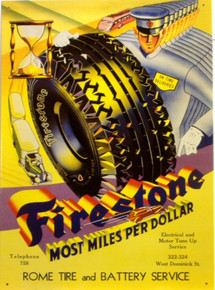"""Photo of FIRESTONE TIRE SIGN WITH THE """"FIRESTONE MAN"""" MOST MILES PER DOLLAR 1950'S GRAPHICS AND COLOR"""