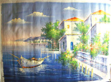 Photo of FISHING BOAT BY FLOWERING GARDEN large SIZED OIL PAINTING