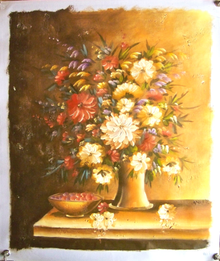 Photo of FLOWERS IN VASE W/BOWL  OIL PAINTING
