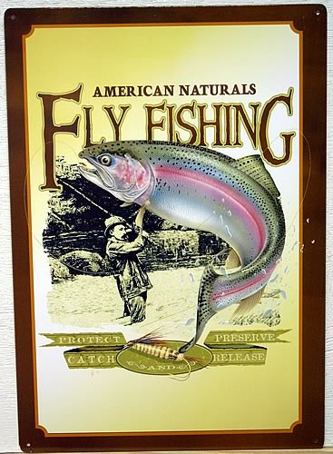 Photo of FLY FISHING SIGN OF FISHERMAN CATCHING A RAINBOW TROUT WHICH IS JUMPING OUT OF THE WATER..PROMOTES CATCH AND RELEASE