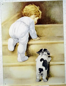 Photo of GUTMAN FOLLOW ME SIGN, SHOWS A LITTLE ONE CLIMBING THE STEPS WITH A PUPPY TRYING HARD TO FOLLOW
