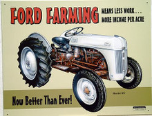 "Photo of FORD FARMING 8N ""MEANS LESS WORK MORE INCOME PER ACRE.  NOW BETTER THAN EVER SIGN SHARP GRAPHICS, WARM COLORS"