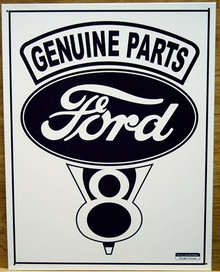 Photo of FORD GENUINE V-8 SIGN SHARP GRAPHICS IN BLUE AND WHITE