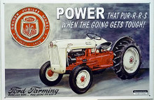 "Photo of FORD GOLDEN JUBILEE SHOWS THE JUBILEE EMBLEM AND FORD TRACTOR IN SHARP DETAILS, ""POWER THAT PUR-R-R-S WHEN THE GOING GETS TOUGH SIGN"