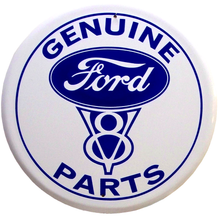 FORD PARTS V8 ROUND SIGN BLUE AND WHITE