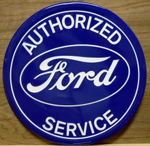 FORD SERVICE ROUND SIGN, HAS DARK BLUE BACKGROUND WITH WHITE LETTERING AND THE FORD OVAL IN THE CENTER
