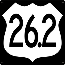 Photo of 26.2 MARATHON INTERSTATE SHIELD WITH BLACK BACKGROUND HAS DEEP RICH BLACK AND WHITE COLORS STOCK SIGN, NOT CUSTOMIZEABLE