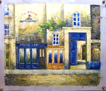 FRENCH STREET SCENE MEDIUM SIZE OIL PAINTING