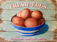 "FRESH EGGS BOWL ENAMEL SIGN, ""DELICIOUS AND FREE RANGE  VINTAGE COLORS AND GRAPHICS"