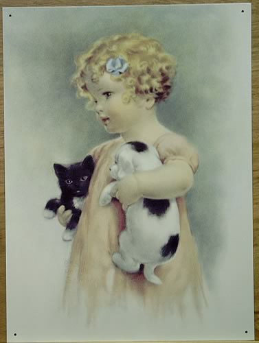 FRIENDLY ENEMIES SIGN SHOWS LITTLE GIRL HOLDING A KITTEN IN ONE ARM AND A PUPPY IN THE OTHER, CUTE VINTAGE COLORS AND GRAPHICS