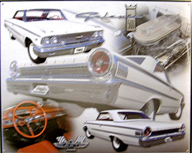 FORD GALAXIE 1963 SIGN SHOWS CAR FROM FRONT, REAR, SIDE AND INSIDE.. GREAT DETAIL WARM COLORS