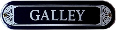 GALLEY PORCELAIN SIGN, SMALL, BLUE AND WHITE FOR THE SHIP'S KITCHEN