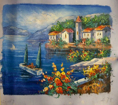 GARDEN NEXT TO SEA BOATS WITH GREEN SAILS OIL PAINTING