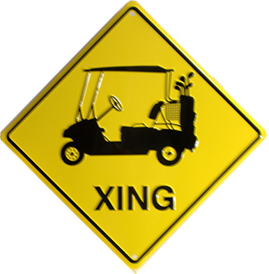 GOLF CART  XING SIGN, YELLOW AND BLACK DIAMOND SHAPE SIGN