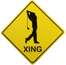 GOLFER  XING SIGN, YELLOW AND BLACK DIAMOND SHAPE SIGN