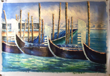 GONDOLAS AT ANCHOR medium large size OIL PAINTING