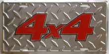 Photo of 4 X 4 (DIAMOND PLATE) EMBOSSED LICENSE PLATE FOR THE CAR OR WALL