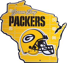 GREEN BAY PACKERS FOOTBALL DIE CUT WISCONSIN SHAPED SIGN GREAT COLORS AND SHARP DETAIL