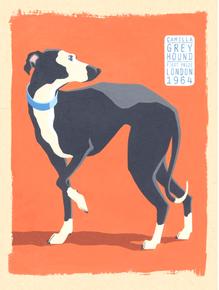 GREY HOUND DOG ENAMEL SIGN GREAT COLOR AND DETAILS
