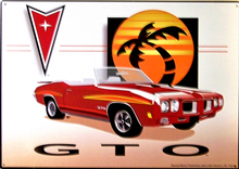 PONTIAC GTO BY  PALM TREE SIGN VIVID COLORS GOOD GRAPHICS