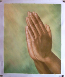 HANDS PRAYING medium OIL PAINTING'